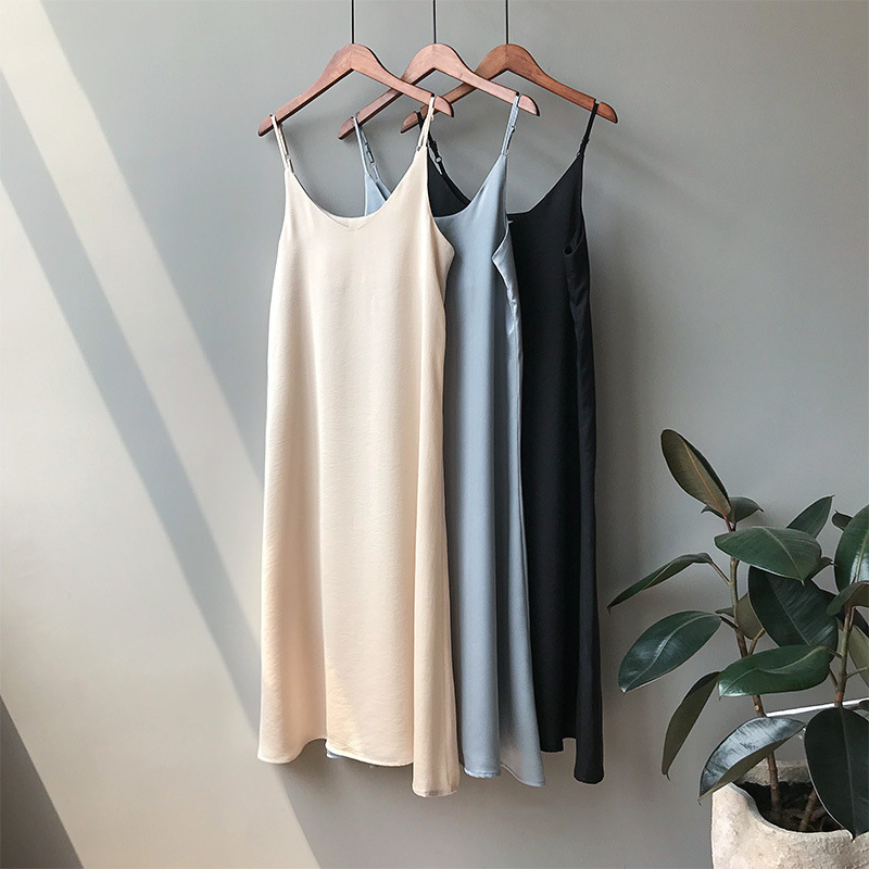 Mooirue Spring <font><b>2019</b></font> Woman Tank Dress Casual Satin <font><b>Sexy</b></font> Camisole Elastic Female Home Beach Dresses image