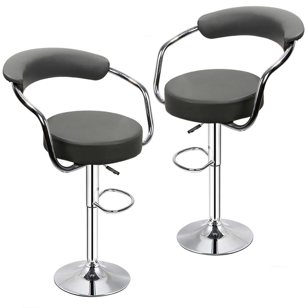 2PCS Fashion Adjustable Gas Lift Bar Stools Bar Chairs Modern PU Leather Hollow Backrest Kitchen Home Bar Furniture Chair