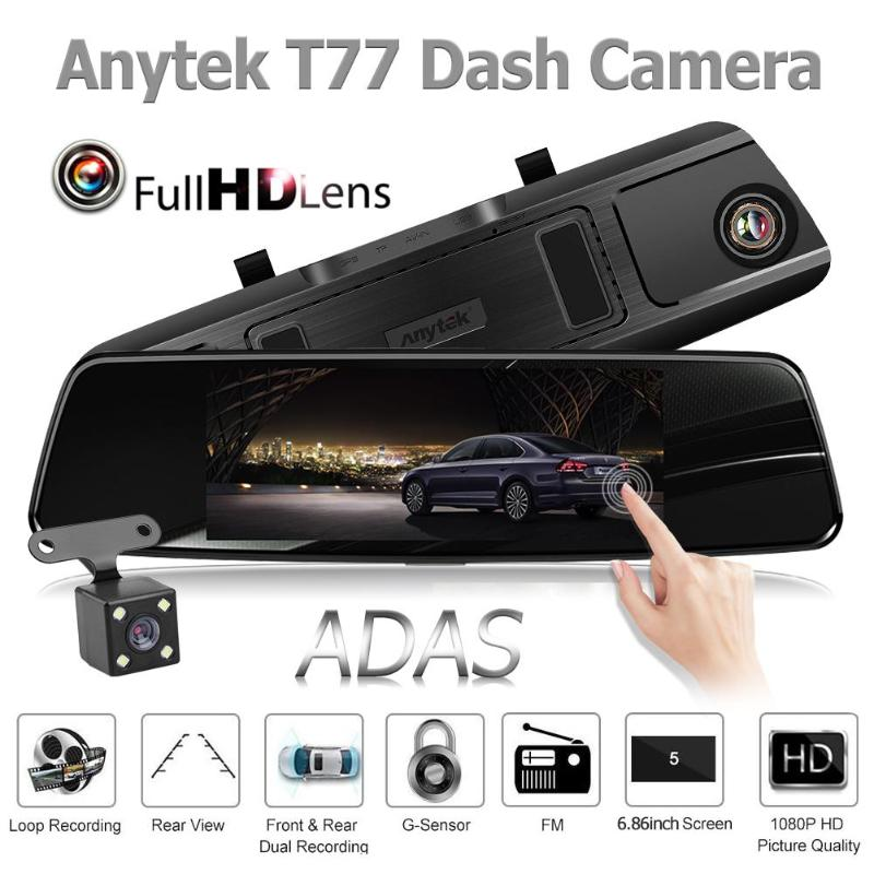 Driving-Recorder Anytek T77 Camera Car-Rearview-Mirror-Dvr Dash-Cam G-Sensor Dual-Lens