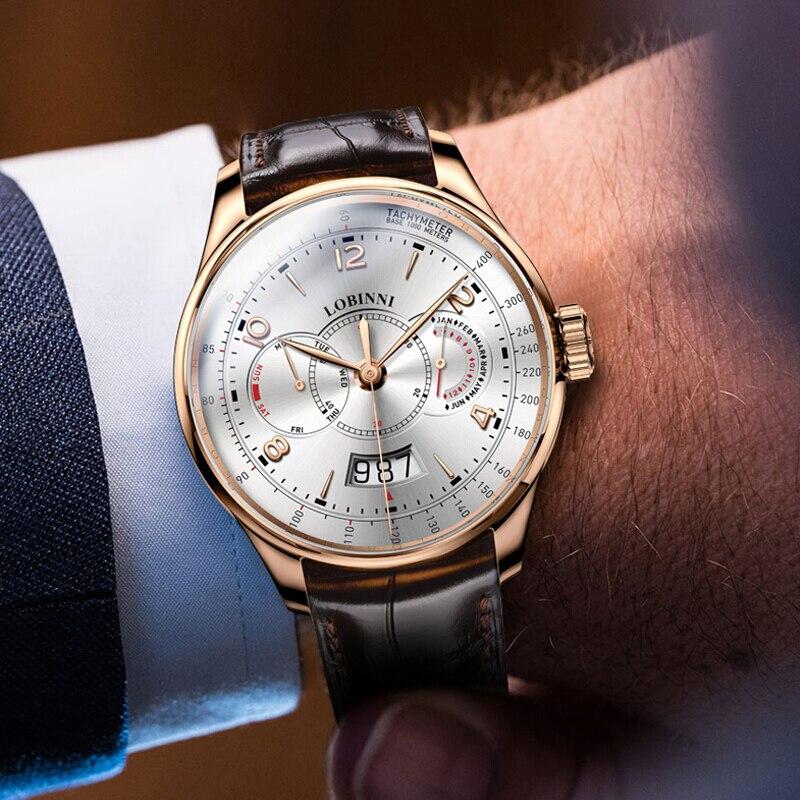 Szwajcaria LOBINNI mężczyźni zegarki luksusowe marka zegarka kobiet Sapphire relogio japonia Miyota 9122 automatyczny ruch mechaniczny L16013 1 w Zegarki mechaniczne od Zegarki na  Grupa 2