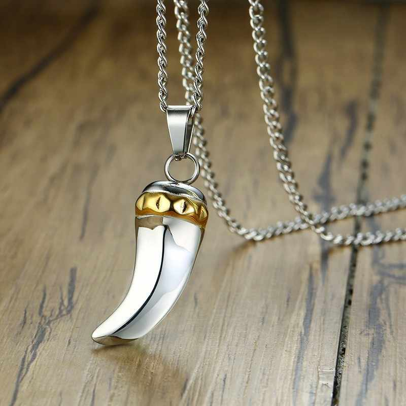 Mężczyźni ze stali nierdzewnej Two Tone ząb rekina wilk zęby naszyjnik Punk Style Trendsetter biżuteria