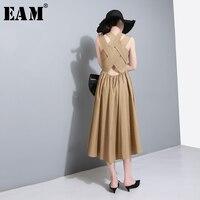[EAM] 2019 New Spring Summer Round Neck Sleeveless White Loose Back Cross Bandage Loose Temperament Dress Women Fashion JU175