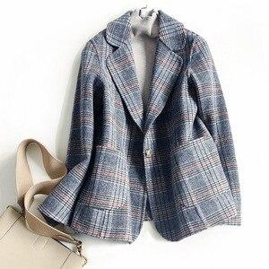 Image 4 - Women Wool Blazer 80%Wool 20%Poly Plaid Office Lady Blazer Single Button Two Pocket Jackets 2020 Autumn Winter Wool Coat