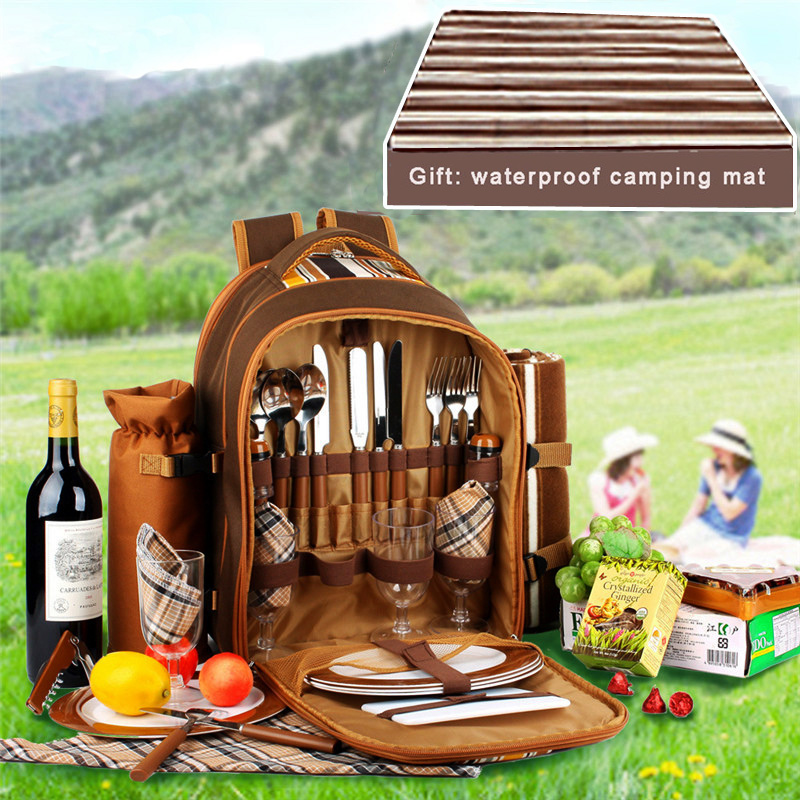 Picnic bag Portable camping backpack with cutlery refrigerator bag cubiertos picnic set for 4 Camping cooler bags with blanketPicnic bag Portable camping backpack with cutlery refrigerator bag cubiertos picnic set for 4 Camping cooler bags with blanket