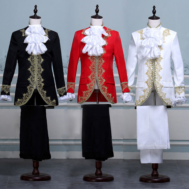 Biamoxer King Prince Renaissance Medieval Men Cosplay Costume Coat+Pants Full Set