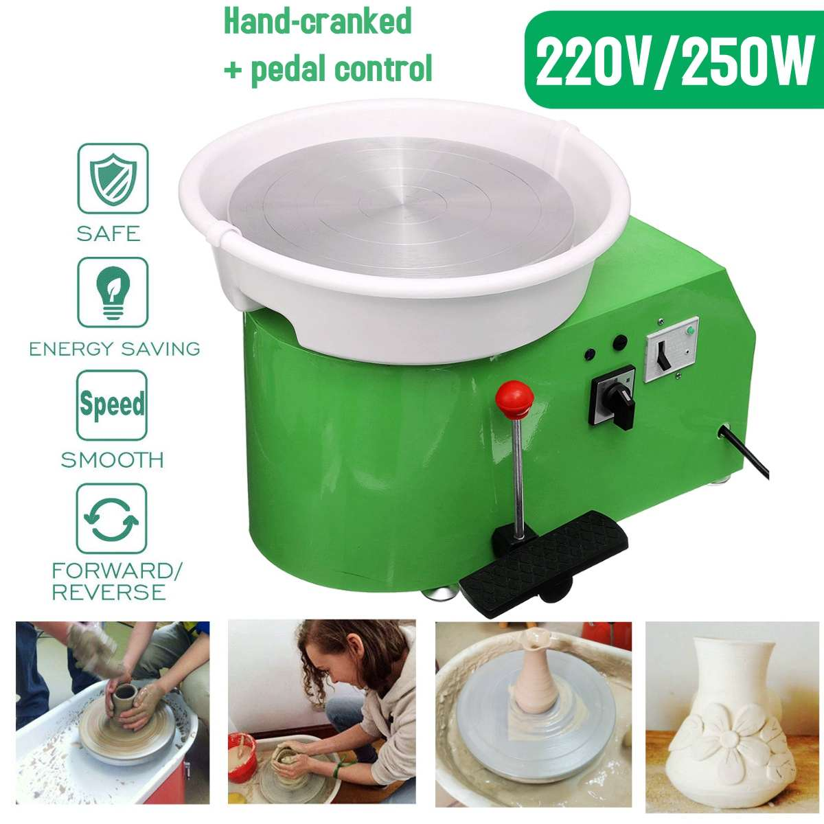 Pottery Wheel Machine 32cm 220V 250W Hand-cranked pedal control peda Ceramic Work Clay Art With Mobile Smooth Low NoisePottery Wheel Machine 32cm 220V 250W Hand-cranked pedal control peda Ceramic Work Clay Art With Mobile Smooth Low Noise