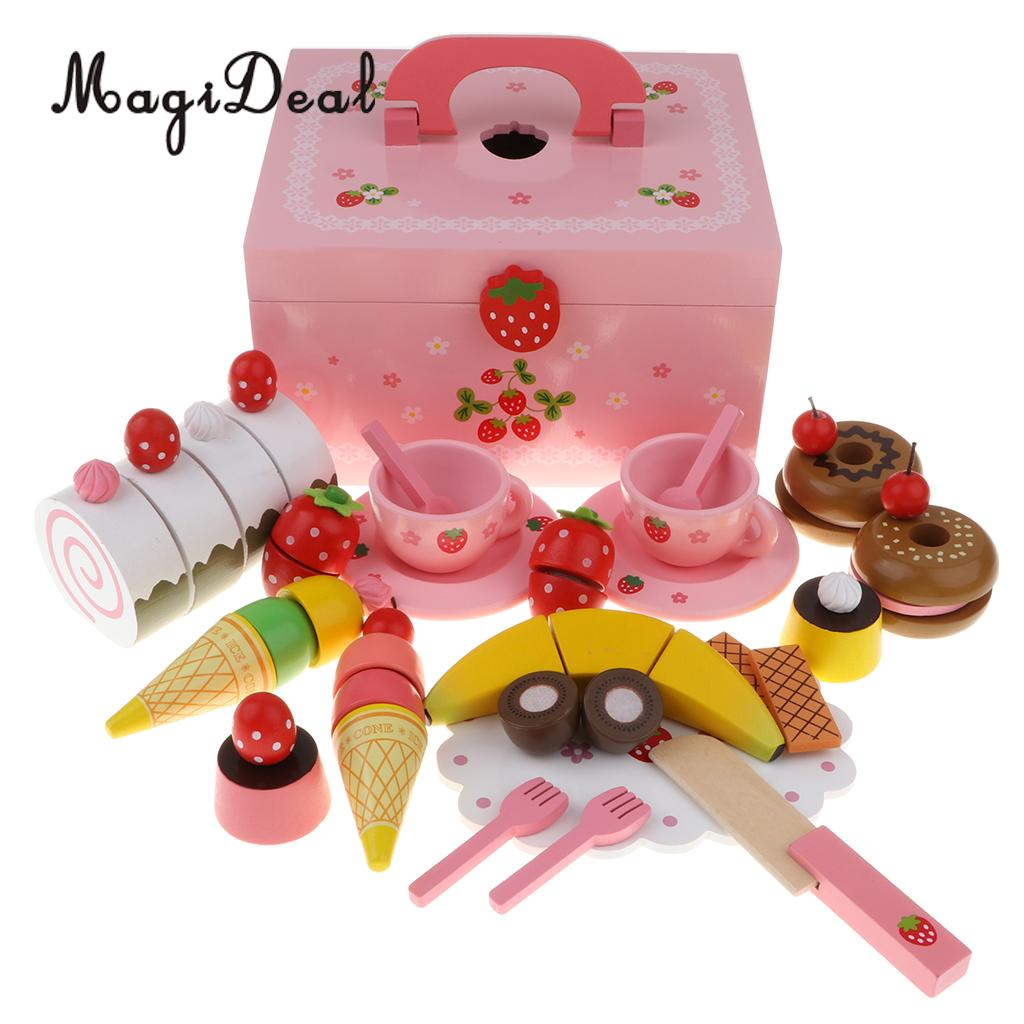 Wooden Strawberries Cake Tea Party Playset Fruit Cake Tableware Set Kitchen Pretend Play Game Cutting Toy