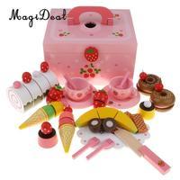 Деревянный Клубника чай торт вечерние Игровой набор фруктовый торт набор посуды игрушечный миксер игровой автомат режущий игрушка обучающ