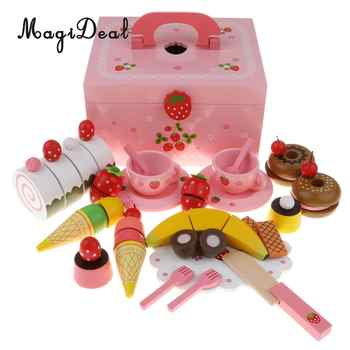 Wooden Strawberries Cake Tea Party Playset - Fruit Cake Tableware Set Kitchen Pretend Play Game Cutting Toy Educational - 33pcs - DISCOUNT ITEM  28% OFF All Category