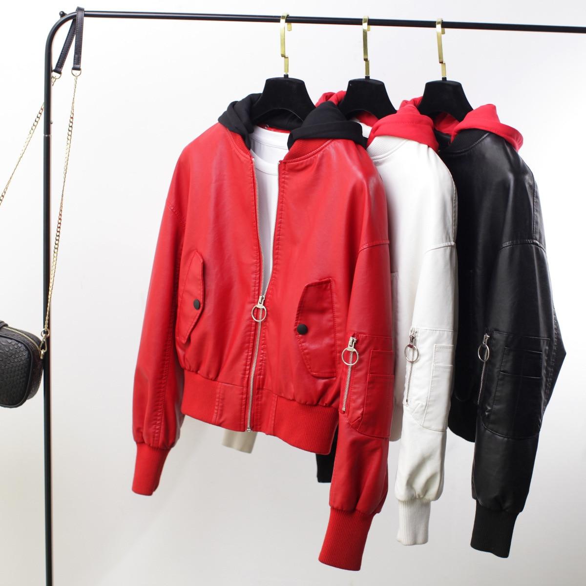 2019 Women Pu   Leather   Jacket Autumn Hooded Oversized Bomber Jackets Long Sleeve Fashion Short Baseball Coat Blouson Femme A9261