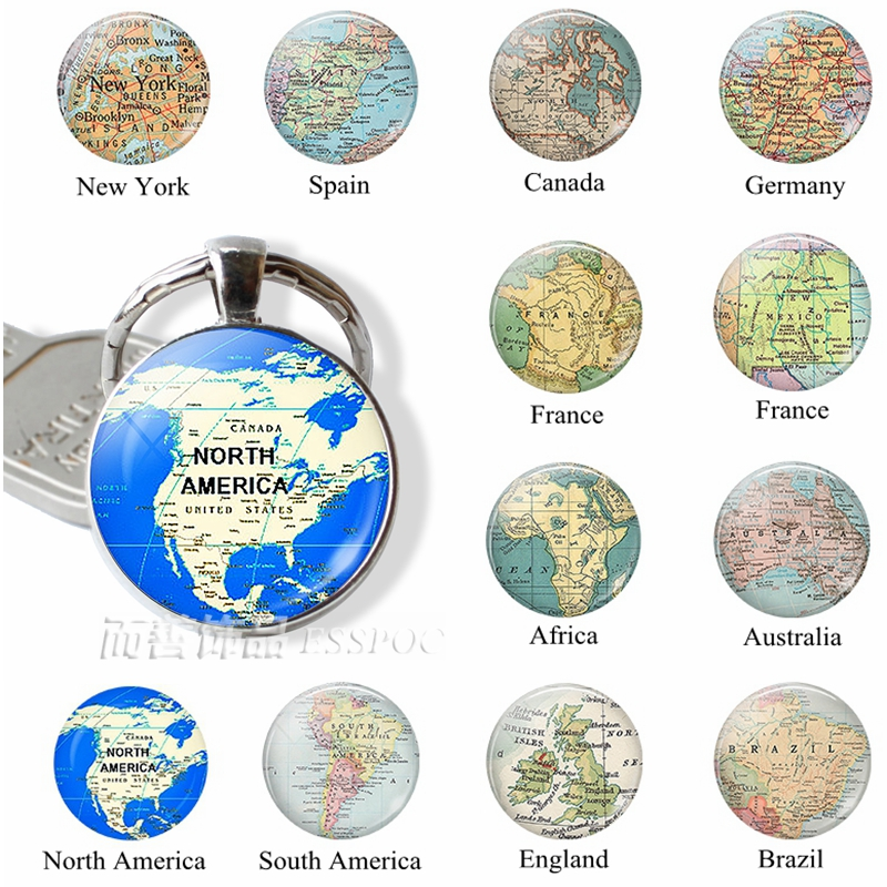 Map Of France With Key.Us 1 01 49 Off Fashion World Map Keychain North American Africa France Spain England Pendant Map Key Chain Ring Jewelry Men Bead Charm Gift In Key