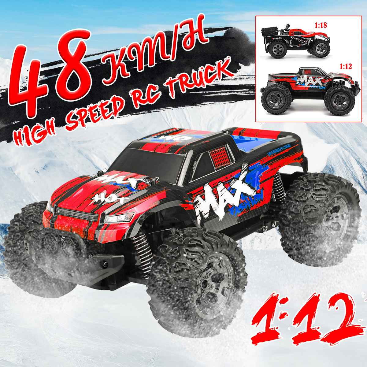 1/12 Remote Control Car High Speed RC Electric Monster Truck Car Remote Control Model Off-Road Vehicle  For Boys Kids 48km/H1/12 Remote Control Car High Speed RC Electric Monster Truck Car Remote Control Model Off-Road Vehicle  For Boys Kids 48km/H