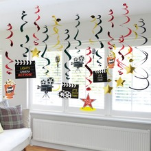 Pack of 30 Hollywood Party Hanging Swirls Decoration Premiere Night Awards Clapperboard Star Movie Prom Oscar
