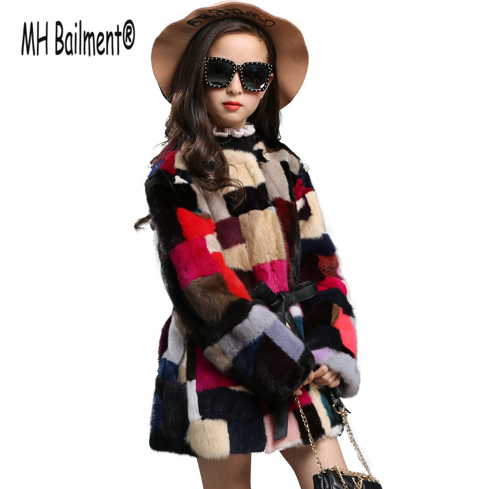 Children Kids Real Mink Fur Long Coat with O-neck New Winter Girls Natural Fur Thick Jackets Warm Baby Geometric Coat hm023 women s winter hats real genuine mink fur hat winter women s warm caps whole piece mink fur hats