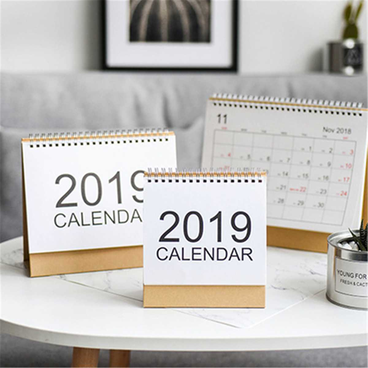 Kicute 2018 Jahr Schwarz Weiß Stil Luminous Kalender Schreibtisch Stehenden Papier Multifunktions Organizer Schedule Planer Memo Kalender Kalender, Planer Und Karten