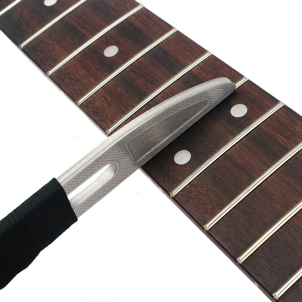ギターネックノッチストレートエッジ弦楽器製作者ツール + フレットファイルステンレス鋼ギター修理メンテナンスツール指板定規  グループ上の スポーツ & エンターテイメント からの ギター パーツ & アクセサリー の中 1
