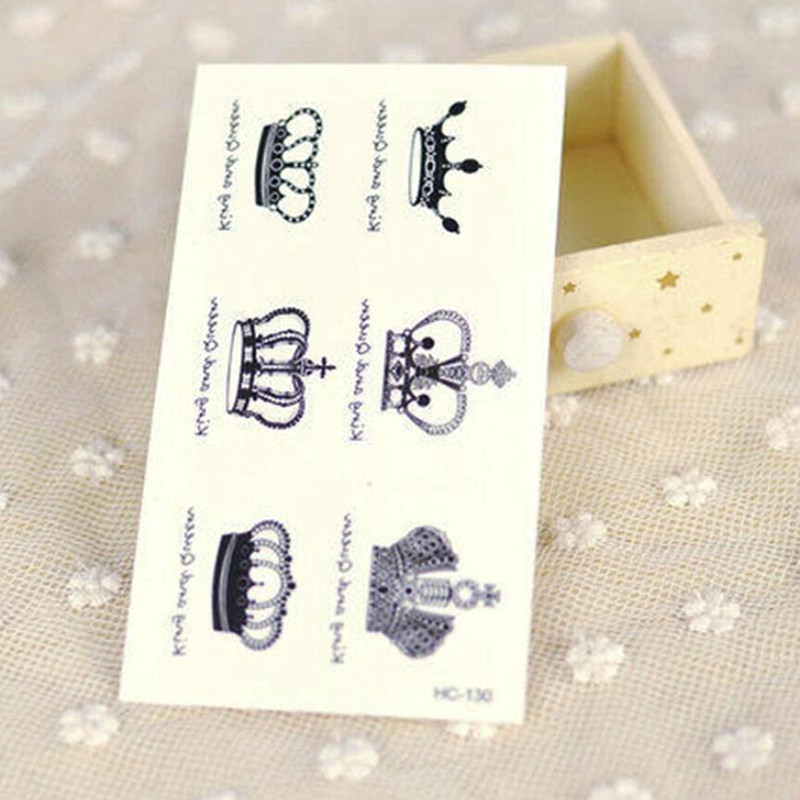 1Pc NEW Temporary Tattoo Sticker Waterproof Decals Fake Tatoo Art Taty Crown English Words Pattern Tattoo Sticker
