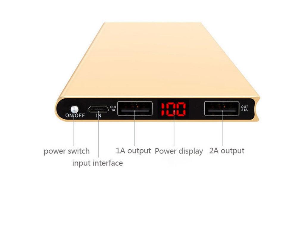 LCD 10000 mah batterie portable solaire 2USB mobile externe chargeur chargeur portatif batterie pour iphone x Samsung Xiaomi Huawei