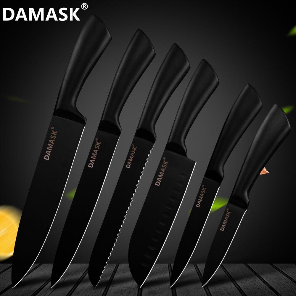 """דמשק 6 Pcs מטבח סכין סט סכו""""ם נירוסטה שף סכין קילוף שירות שף Santoku לחם חיתוך סכין טבח אבזר"""