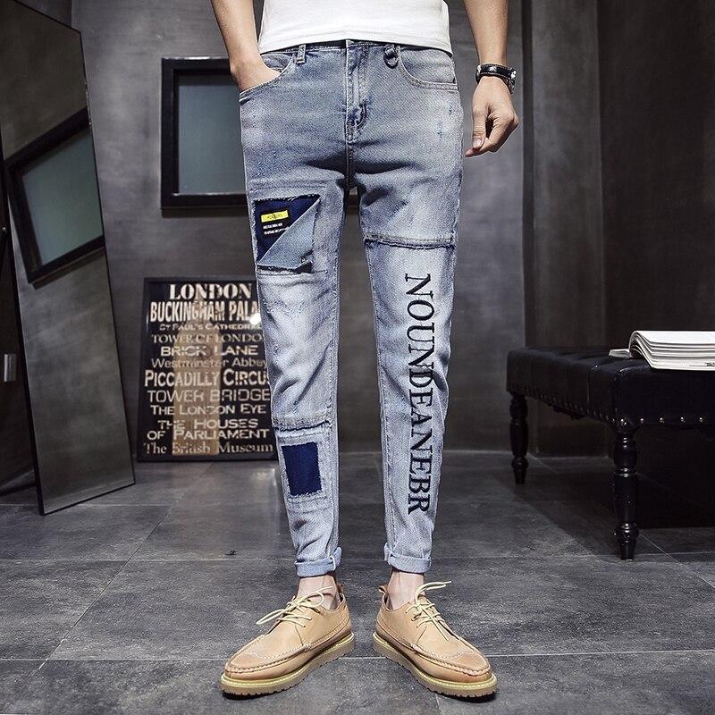 Mode homme Vintage déchiré Jeans Skinny Slim Fit Zipper Denim pantalon détruit effiloché pantalon lettre imprimé pantalon Jeans Hombre-in Jeans from Vêtements homme on AliExpress - 11.11_Double 11_Singles' Day 1