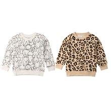 Детский свитер Одежда для мальчиков и девочек модные милые детские свитера с леопардовым принтом кролика Одежда для маленьких девочек весенне-осенняя одежда От 1 до 7 лет