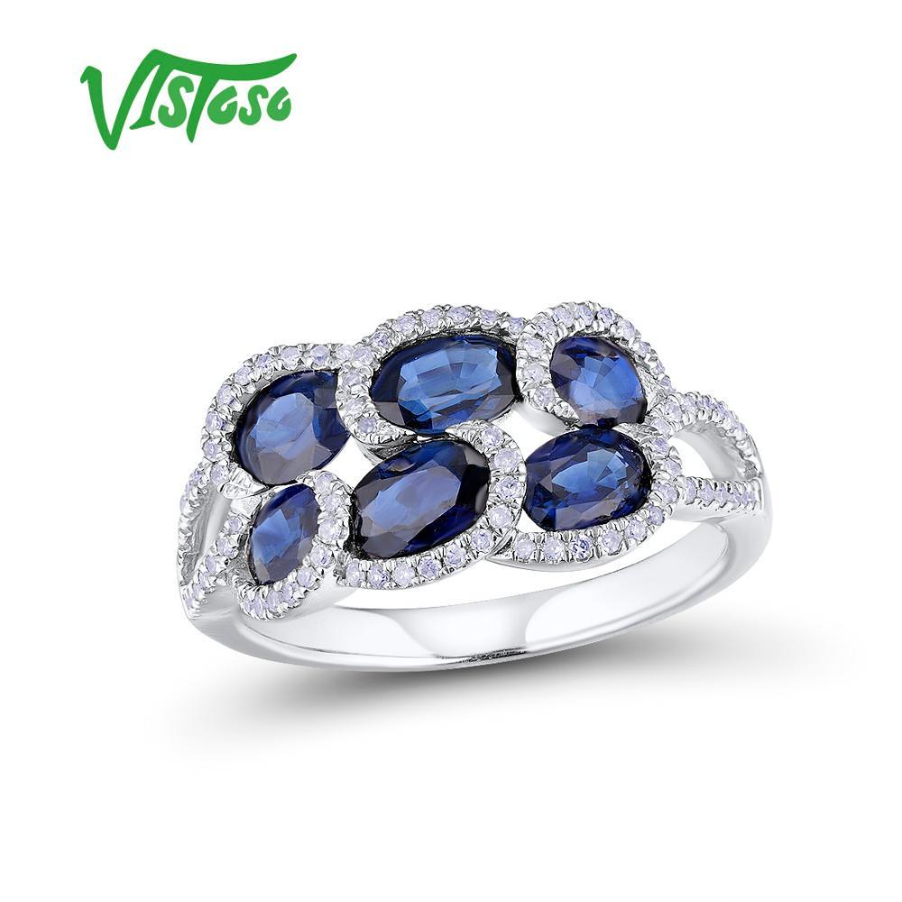 VISTOSO bagues en or pour femmes véritable 14 K 585 bague en or blanc scintillant bleu saphir diamant de fiançailles bijoux fins
