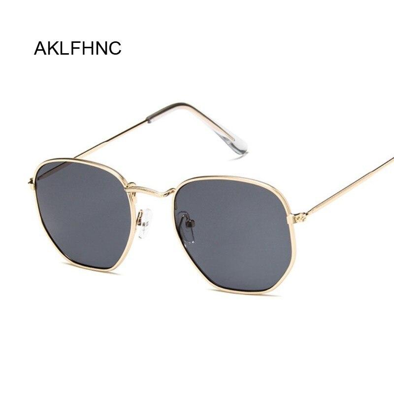 Lunettes De soleil polygonales femmes lunettes dame De luxe rétro métal lunettes De soleil femme Vintage miroir Oculos De Sol Feminino UV400