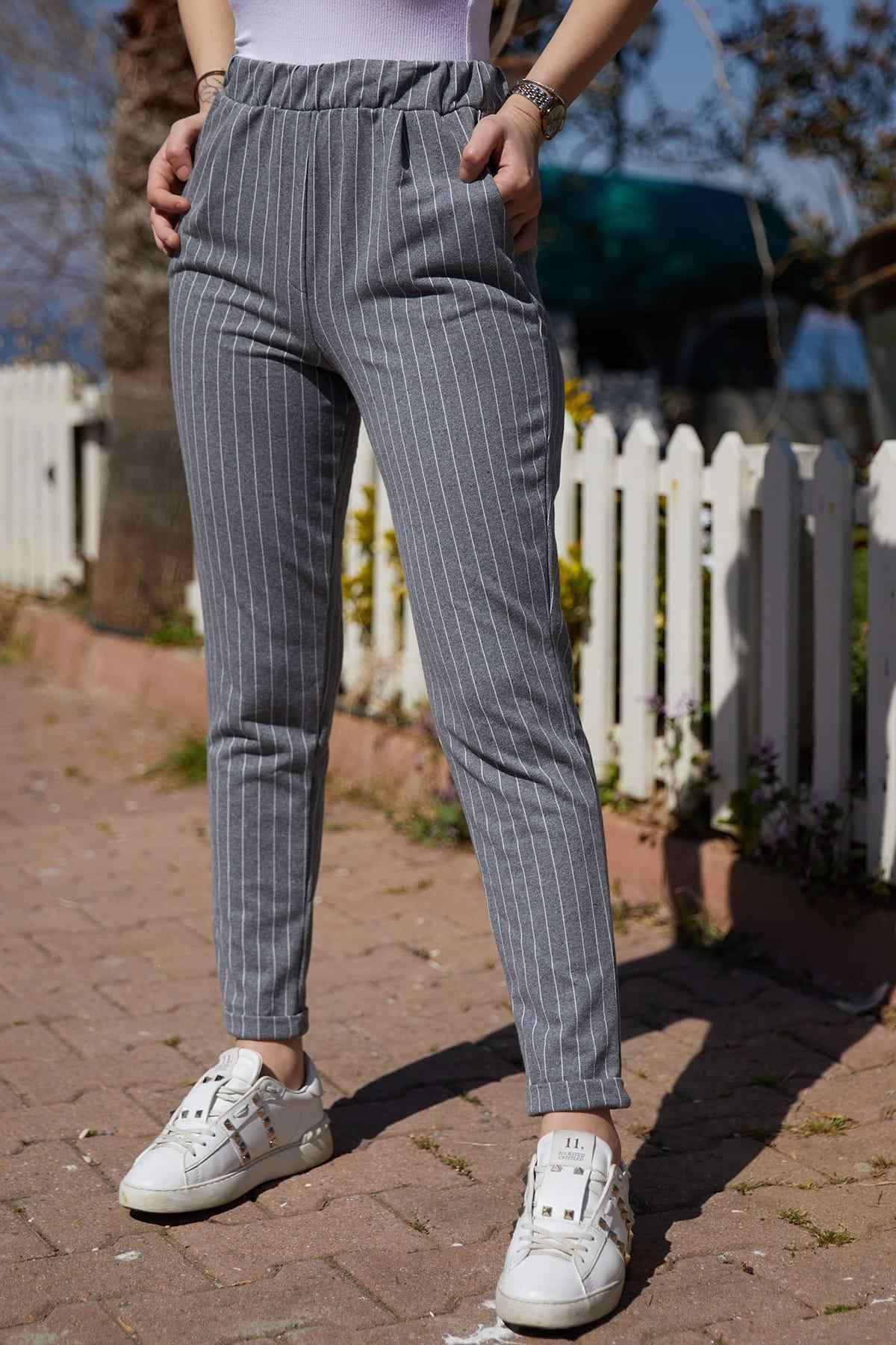 Pantalones Rayados Gris De Mujer Xhan 9yxk5 40750 03 Pantalones Y Pantalones Capri Aliexpress