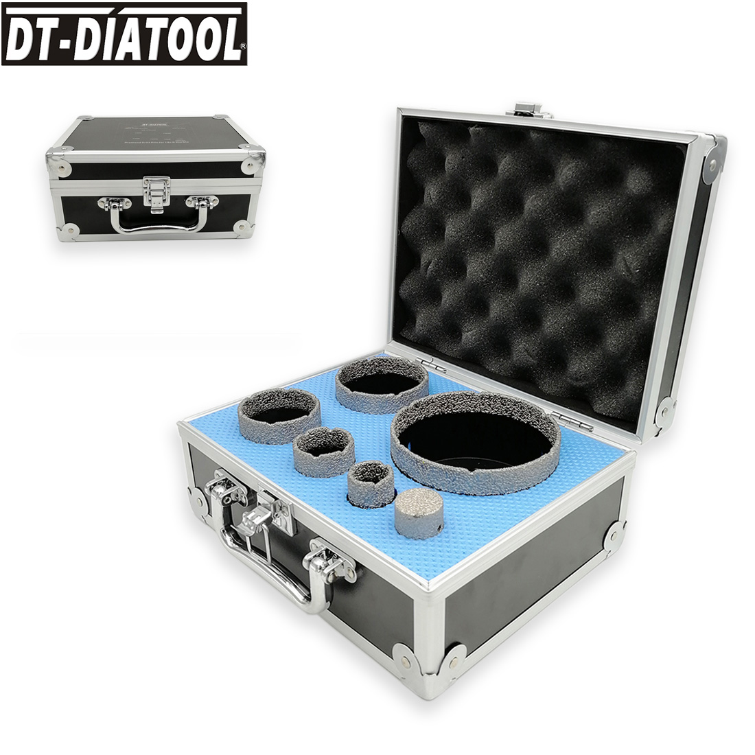 DT-DIATOOL 6pcs/kit Vacuum Brazed Diamond Drilling Core Bits Sets 5/8-11 Thread Hole Saw Mixed Size Plus 25mm Finger Bits Tile