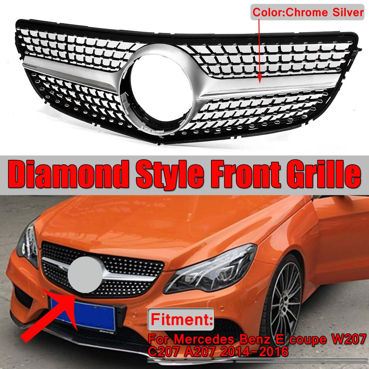 New Chrome W207 C207 A207 Diamond Grill Car Front Bumper Grill Grille For Mercedes For Benz E For Coupe W207 C207 A207 2014-2016New Chrome W207 C207 A207 Diamond Grill Car Front Bumper Grill Grille For Mercedes For Benz E For Coupe W207 C207 A207 2014-2016