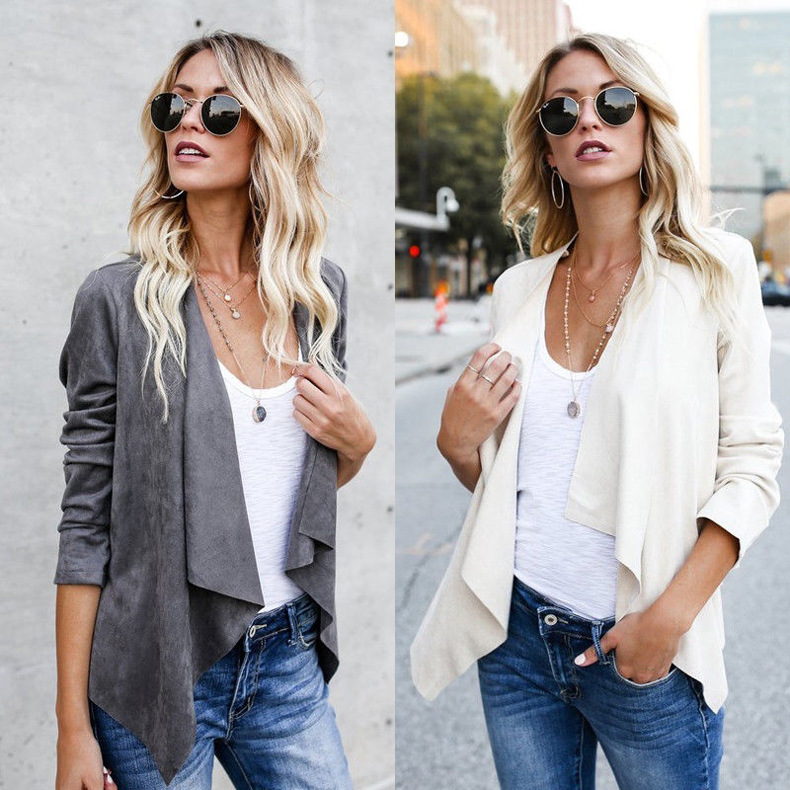 2019 Women Artificial Suede   Basic     Jackets   Open stitch Slim Coats Cardigan Vintage Asymmetric Ladies Motorcycle Outwears