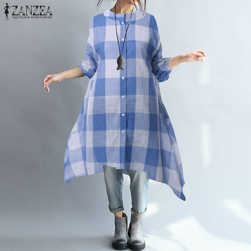 ZANZEA Dress Women Button Down Plaid Vestidos 2019 Spring Female Irregular Hem Long Shirt Vesitdo Beach Sundress Robe Plus Size