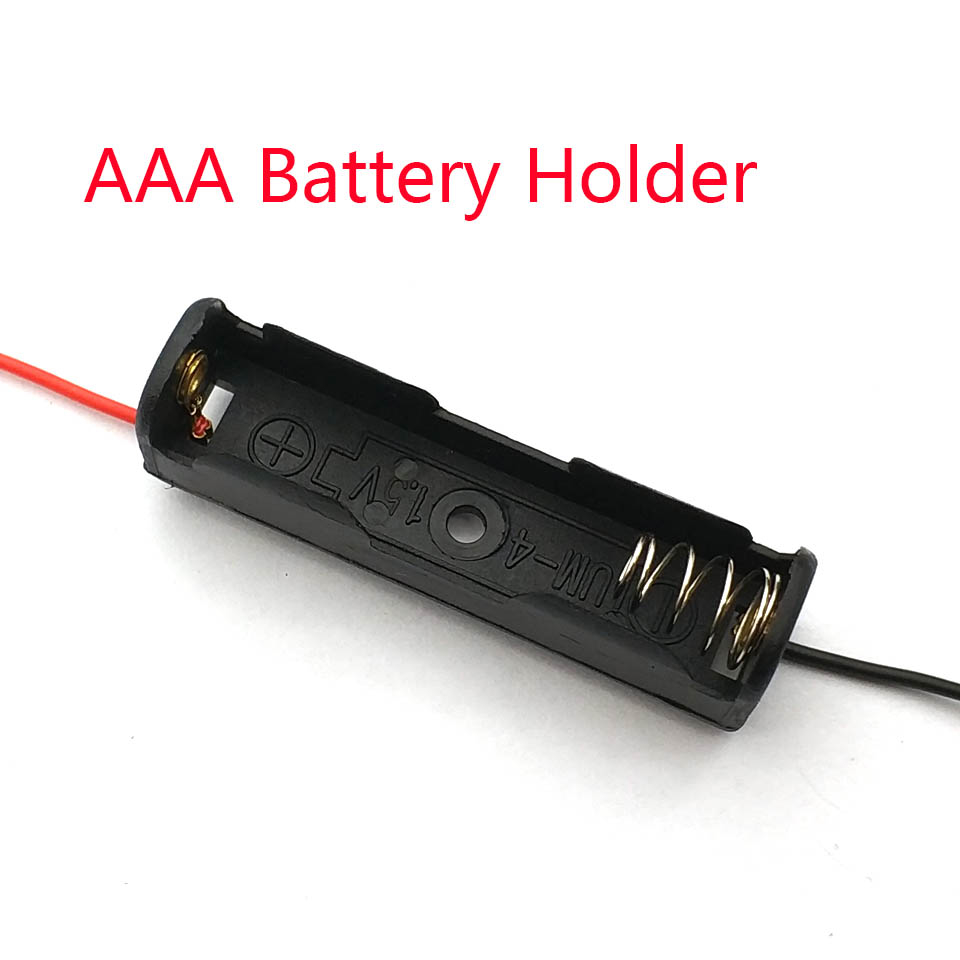 1Pcs Single Slot AAA Mobile Battery Clip Case Holder Box With Wire Leads DIY Battery Storage Cases Solderless For AAA Battery