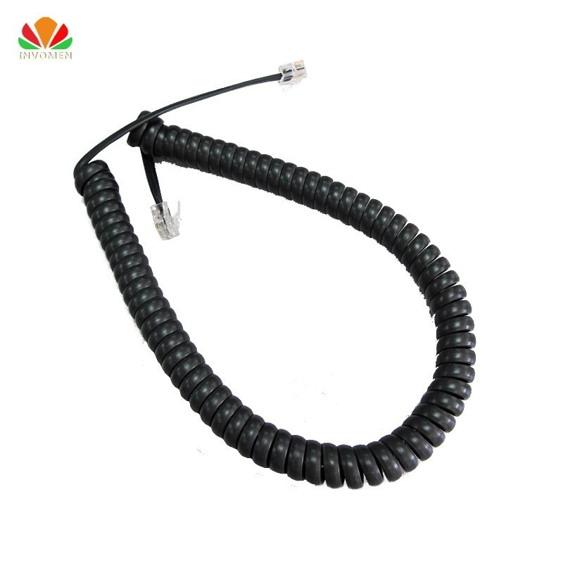 50cm Long Telephone Cord Straighten 3m Microphone Receiver Line RJ22 4P4C Connector Copper Wire Phone Volume Curve Handset Cable