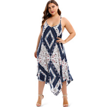 Summer Cami Dress Elegant Slim Strap Floral Print Sleeveless Handkerchief Boho Dress Modern Lady Plus Size Women Party Dresses plus floral print striped cami dress