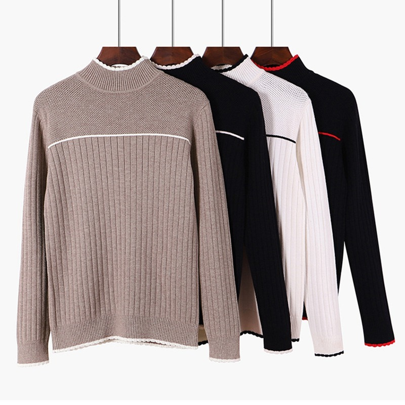 Women Pullover And Sweater Autumn Winter Ribbed Knitted Sweaters Top Striped Warm Thick Female Jumper For Christmas Pull