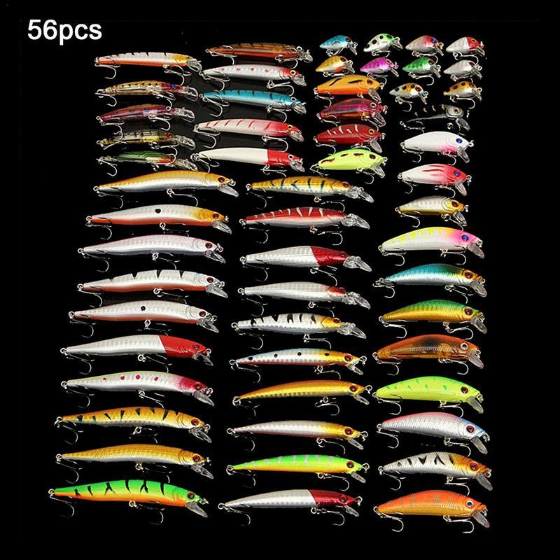 56 Pcs/lot leurres de pêche tout-puissant en acier à haute teneur en carbone Set appâts de pêche mixtes méné appât dur Wobbler manivelle appâts accessoires de pêche