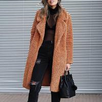 Women Winter Jacket Open Front Cardigan Long Coat Stylish Winter Turn Down Collar Jackets Solid Color Pockets Classic Outerwear