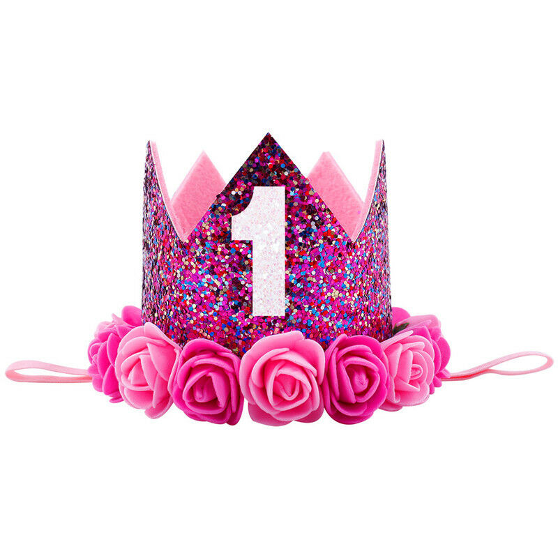 New Kids Baby 1st Birthday Hat Glitter Crown Flower Head Hair Band Party Headwear Cute Princess Sweet Faux Leather Floral 1PcsNew Kids Baby 1st Birthday Hat Glitter Crown Flower Head Hair Band Party Headwear Cute Princess Sweet Faux Leather Floral 1Pcs