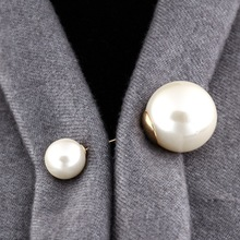 Hot Sale High Quality Vintage Style Plated Clear Double head Imitation Pearl Big Brooch Wedding Accessories
