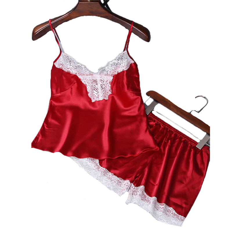2Pcs Women's Sexy Pajamas Satin Silk Pajamas Sets Ladies Sleeveless Crop top Pants Sleepwear Lace Deep V Sling Lingerie Sets