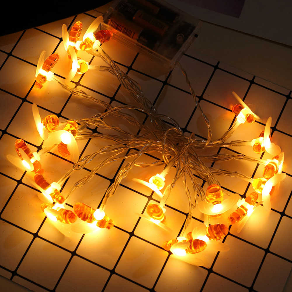 Light Decoration Diwali Bee Led Light String Holiday Lights Garland Battery Usb Operated Fairy Wedding Ramadan Diwali Christmas Decoration 10 20leds