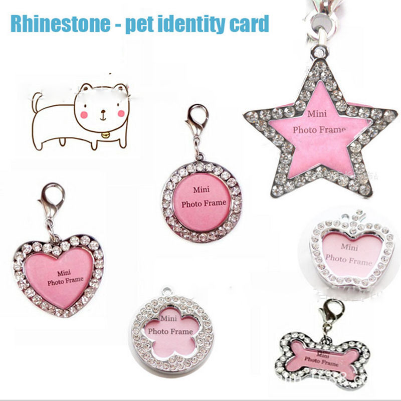 1Pcs Mini Photo Frame Stainless Steel pet ID Tag Dog Kitten Puppy Cat Necklace Bling Name Tags collar accessories Decoration