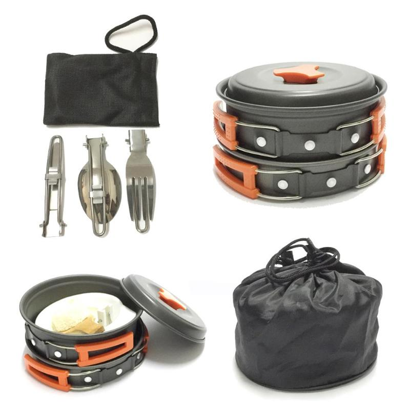12pcs Outdoor Camping Cookware Set Picnic Pot Pan Kit Camping Equipment Hiking Utensils Cover Cooking Picnic Survival Equipment
