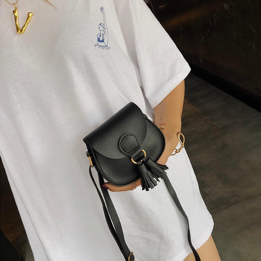 Women Mini Tassel Leather Shoulder Bag Clutch Mini Handbag Tote Purse Hobo Crossbody
