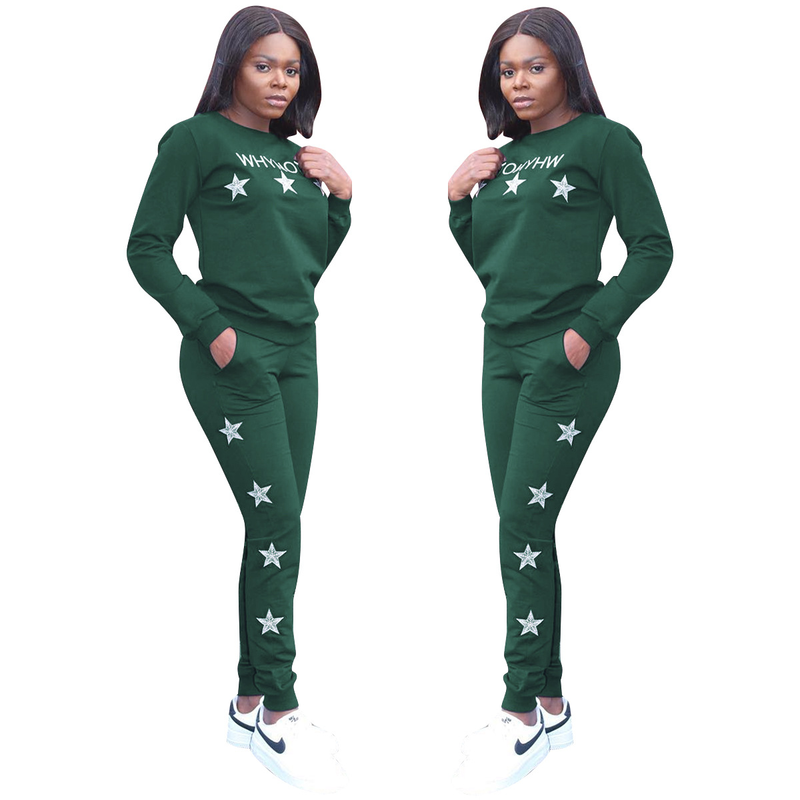 Winter Women Set Tracksuit Long Sleeve Embroidery Sweatshirts Casual Suit Winter Clothes 2 Two Piece Set Tops + Pants Sportwear