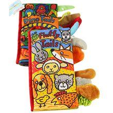 JOLLYBABY 2 Pack Tiere Stereoskopischen Tails Tuch Buch Baby Früh Lernen Bildung Bücher Spielzeug (Dino und Flauschigen Tails)