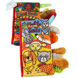 Image 1 - JOLLYBABY 2 Pack zwierzęta stereoskopowe ogony tkaniny książki dziecko wczesna nauka edukacja książki zabawki (Dino i puszyste ogony)