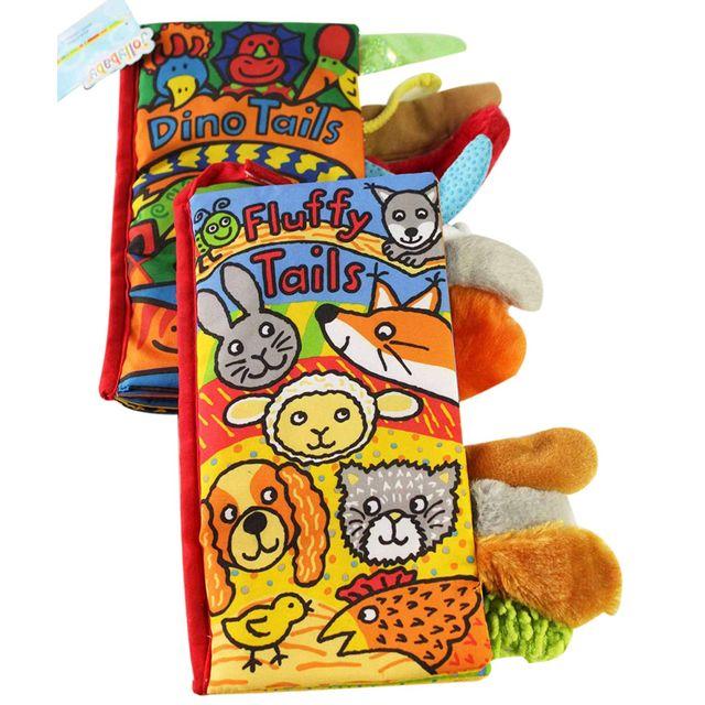JOLLYBABY 2 Pack zwierzęta stereoskopowe ogony tkaniny książki dziecko wczesna nauka edukacja książki zabawki (Dino i puszyste ogony)