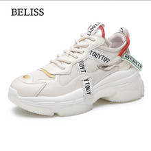цена на BELISS 2019 Flat Shoes Women Spring Autumn Shoes Woman Casual Lace-Up Fashion Women Genuine Leather Sneakers Flats Platforms P45